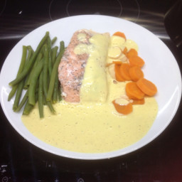 Salmon w Salmon Mousse and Curried Mango Sauce