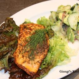 Salmon with Avocado and Cucumber Salad