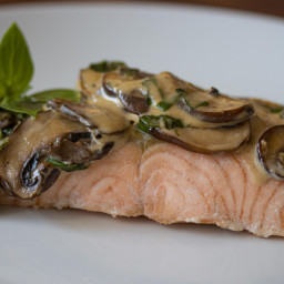 Salmon with Basil Mushroom Sauce