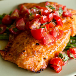 Salmon With Cherry Tomato Salsa And Asparagus Recipe