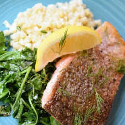 Salmon with Dill, Sauteed Baby Kale and Cauliflower Rice