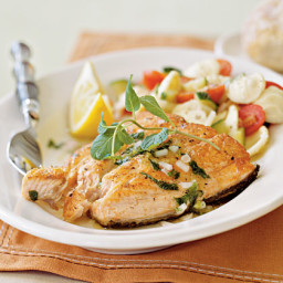 Salmon with Lemon-Mint Dressing