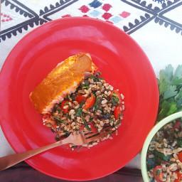 Salmon with Mustard Sauce & Farro Salad