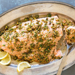 Salmon with Pistachio Gremolata