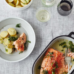 Salmon with Potato Salad and Horseradish Yogurt
