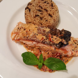 Salmon with Sun Dried Tomato Cream Sauce