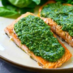 Salmon with Sunflower-dill Pesto Sauce