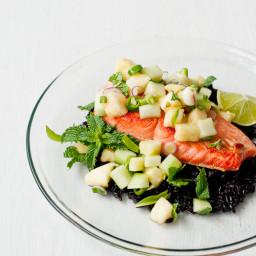 Salmon with Thai Pineapple-Cucumber Salad