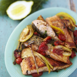 Salmon with young garlic & tomato sauce