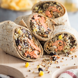 Salmon Wrap with Quinoa and Black Beans
