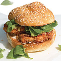 Salmon Cake Sandwiches with Watercress and Miso Dressing