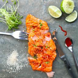 Salmon with Sriracha, Honey and Lime