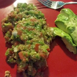 Salsa Smothered Tex-Mex Meatloaf with Avocado slices