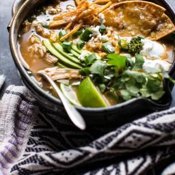 Salsa Verde Chicken and Rice Tortilla Soup.