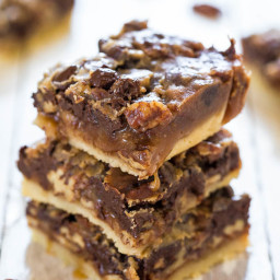 Salted Caramel and Chocolate Pecan Pie Bars
