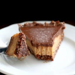 Salted Date Caramel, Chocolate Pie with Almond Coconut Crust. Vegan Glutenf