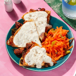 San Francisco-Inspired Smothered Chicken Quesadillas with Carrot-Jalapeño S