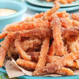Sassy Sugar Cinnamon Sweet Potato Fries with Creamy Coconut Maple Dipping S