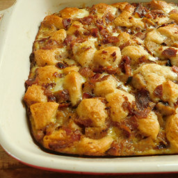 Sausage and bacon maple biscuit breakfast bake