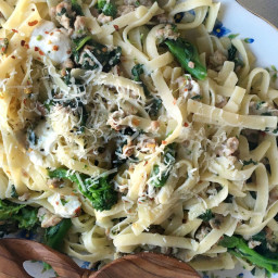 Sausage and Broccoli Rabe Fettuccine