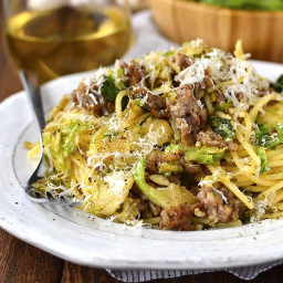 Sausage, Brussels Sprouts and Parmesan Pasta