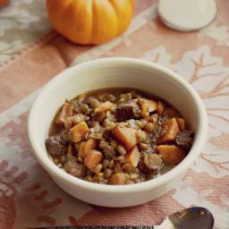 Sausage Lentil Sweet Potato Autumn Soup.