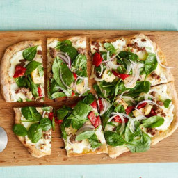 Sausage Pizza With Spinach Salad