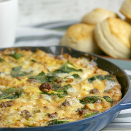 Sausage, Potato, Spinach and Cheddar Frittata