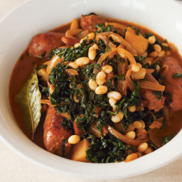 Sausage Stew with Celeriac and Kale
