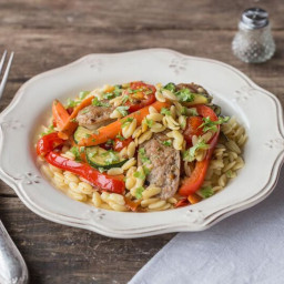 Sausage & Warm Orzo Salad with Zucchini, Bell Pepper, and Tomatoes