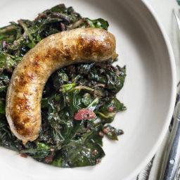 Sausage With Chard and Rhubarb