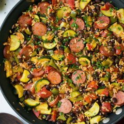 Sausage Zucchini and Brown Rice Skillet (One Pan)