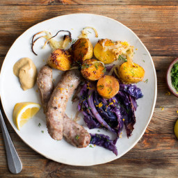 Sausages With Potatoes and Red Cabbage