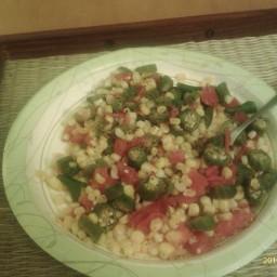 Saute of okra, corn and tomatoes
