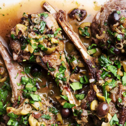 Sautéed Lamb Chops With Ramps, Anchovy, Capers and Olives