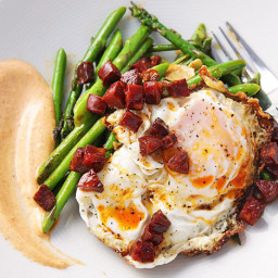 Sautéed Asparagus with Chorizo, Fried Eggs, and Smoked Paprika Allioli