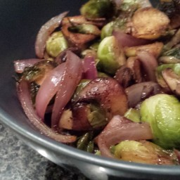 Sauteed Brussels Sprouts w/ Mushrooms & Onions