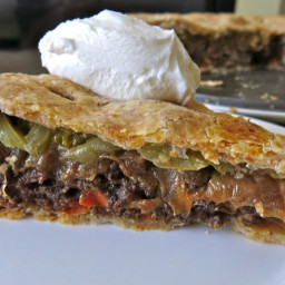 Savory Green Tomato Pie with Beef and Onions in Whole Wheat Pastry