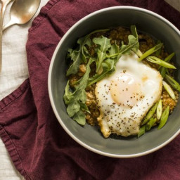 Savory Oatmeal with Baked Eggs