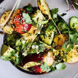 Savory Peach and Cucumber Salad