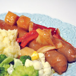 Savoury Sausages with Pineapple