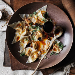 Scallop dumplings with Sichuan chilli and native herbs