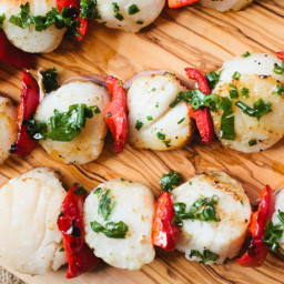 Scallop Skewers with Herb Oil