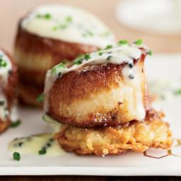 Scallops with Potato Pancakes and Caviar Sauce
