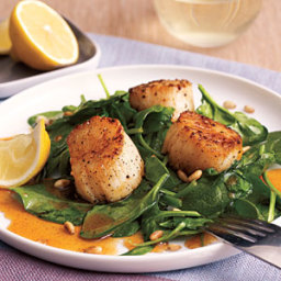Scallops with Spinach and Paprika Syrup