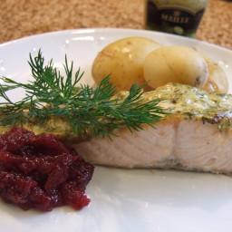 Scandi-inspired mustard dill salmon & lingonberry sauce