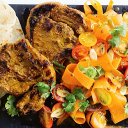 Scorched tikka chops with tomato and carrot salad