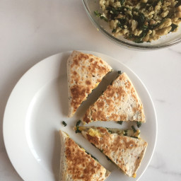 Scrambled Egg, Spinach and Mushroom Quesadilla's