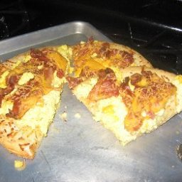Scrambled Eggs and Cheese Pizza (5 Points)