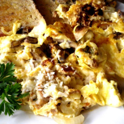 Scrambled Eggs With Mushrooms, Onions and Parmesan Cheese